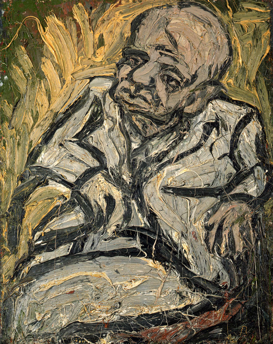 Leon Kossoff, Father Looking Up, September, 1978. Oil on board 122 x 99.5 cm © the Artist. Courtesy Annely Juda Fine Art, London