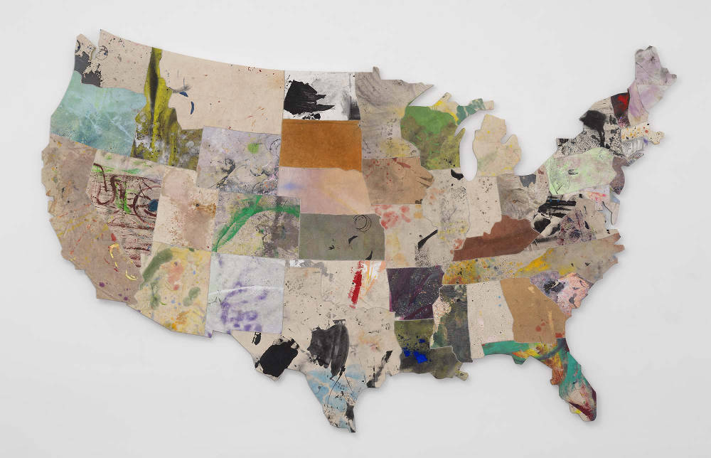 Nate Lowman, Memory Quilt for a Large Ball, 2017. Oil, acrylic, alkyd, latex, dirt, sugar, and nylon thread on canvas, 91 1/2 × 145 1/8 inches (232.4 × 368.5 cm) © Nate Lowman. Photo: Robert McKeever. Courtesy Gagosian