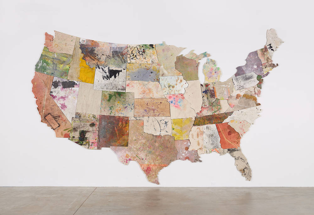 Nate Lowman, Untitled, 2013 - 2015. Oil, acrylic, alkyd, latex, dirt, sugar, and nylon thread on canvas 167 7/8 x 271 7/8 x 1 3/8 inches (426.4 x 690.6 x 3.5 cm) © Nate Lowman. Photo: Jeffrey Sturges. Courtesy Gagosian