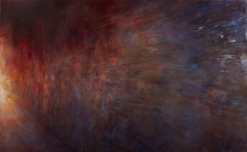Nina Murdoch, Il Tramonto, 2015-18, 113 x 183 cm, egg tempera on gesso panels