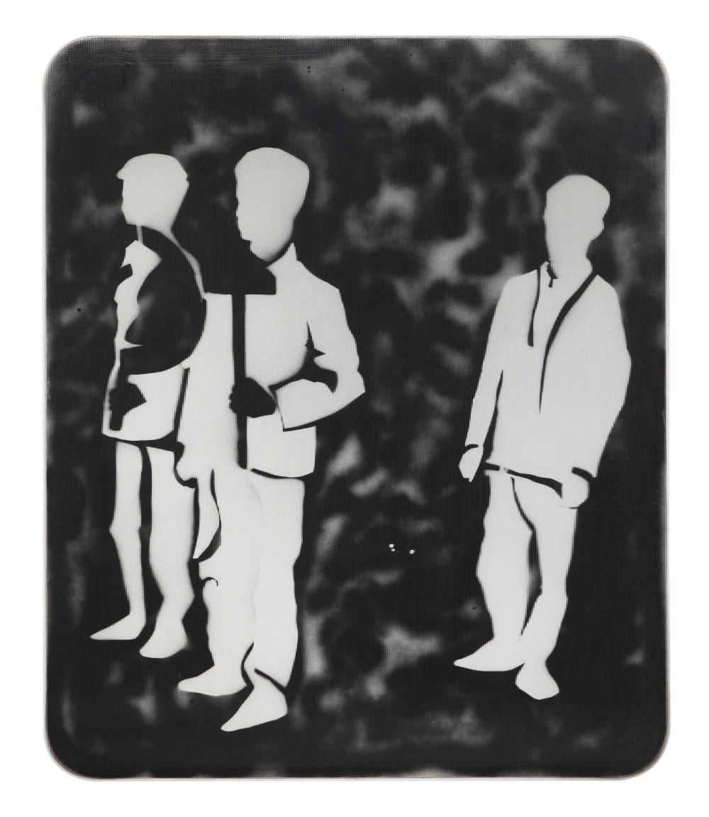 Mario Schifano, Compagni, compagni, 1968. Enamel and spray paint on canvas and Perspex 120 x 100 cm 47 1/4 x 39 3/8 inches