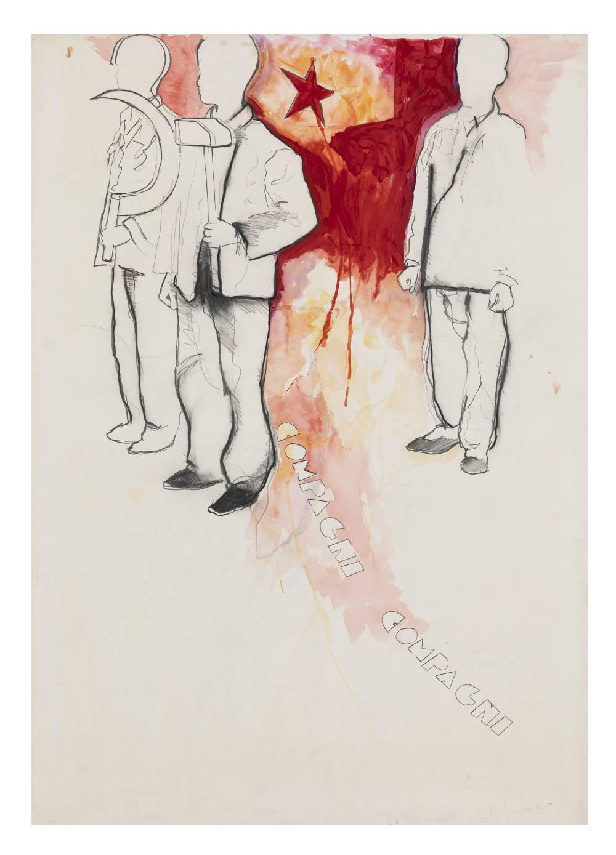 Mario Schifano, Compagni, compagni, 1968. Enamel and graphite on paper 100 x 70 cm 39 3/8 x 27 1/2 inches