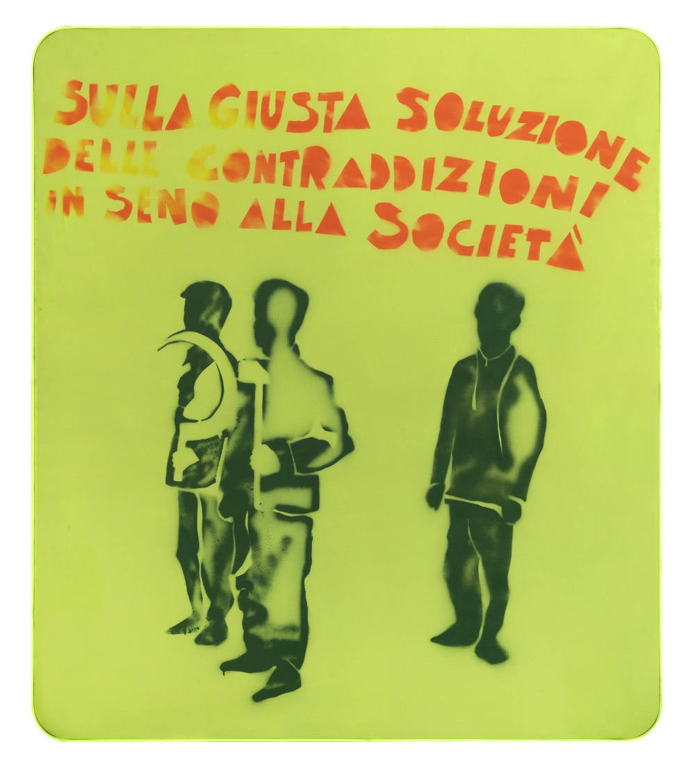 Mario Schifano, Compagni, compagni, 1968. Enamel and spray paint on canvas and Perspex 160 x 140 cm 63 x 55 1/8 inches