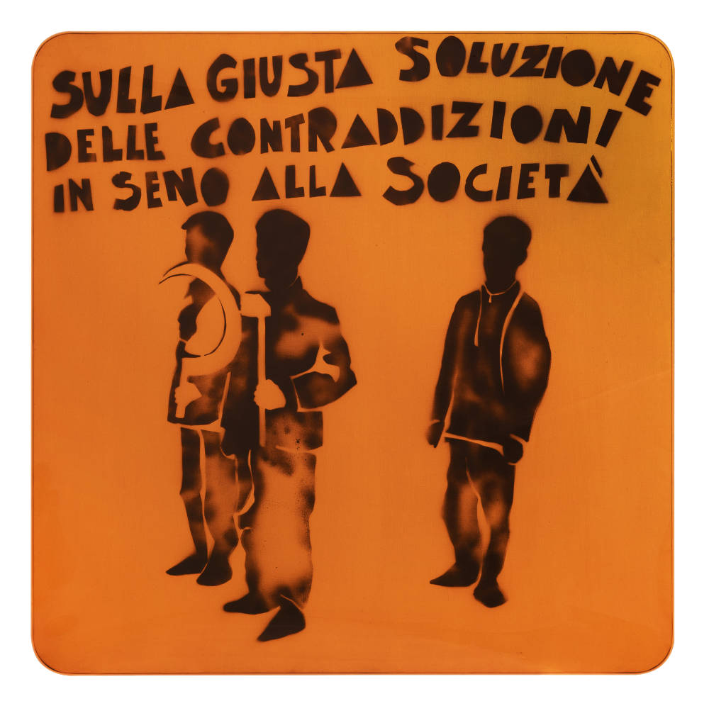Mario Schifano, Compagni, compagni, 1968. Enamel and spray paint on canvas and Perspex 140 x 140 cm 55 1/8 x 55 1/8 inches
