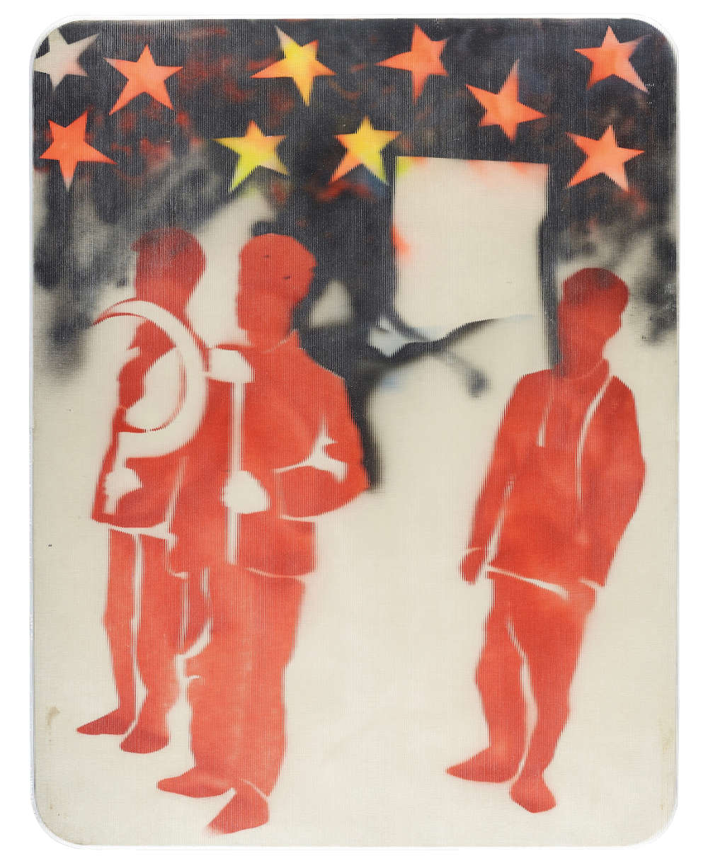 Mario Schifano, Compagni, compagni, 1968. Enamel and spray paint on canvas and Perspex 131 x 101 cm 51 5/8 x 39 3/4 inches