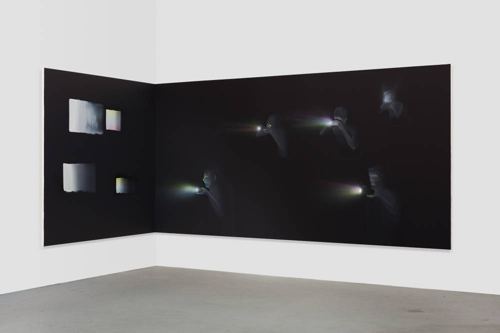 Tala Madani, Corner Projection with Squares, 2018. Oil on linen diptych. Left panel: 72 x 72 inches (182.9 x 182.9 cm) Right panel: 72 x 144 inches (182.9 x 365.8 cm) © Tala Madani, courtesy 303 Gallery, New York