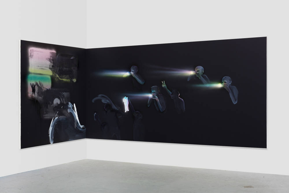 Tala Madani, Corner Projection with Prism Refraction and Buckets, 2018. Oil on linen diptych. Left panel: 72 x 72 inches (182.9 x 182.9 cm) Right panel: 72 x 144 inches (182.9 x 365.8 cm) © Tala Madani, courtesy 303 Gallery, New York