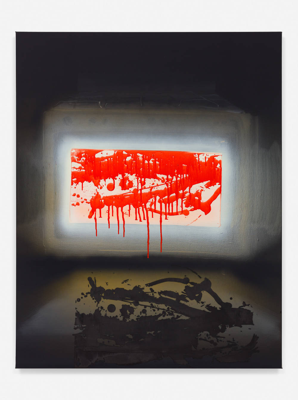 Tala Madani, Ovenburst II, 2018. Oil on linen 38 x 30 inches (96.5 x 76.2 cm) © Tala Madani, courtesy 303 Gallery, New York