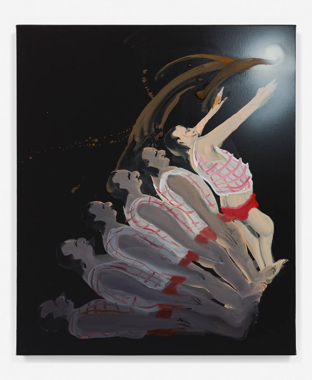 Tala Madani, The Ascendant, 2018. Oil on linen 20 x 17 inches (50.8 x 43.2 cm) © Tala Madani, courtesy 303 Gallery, New York