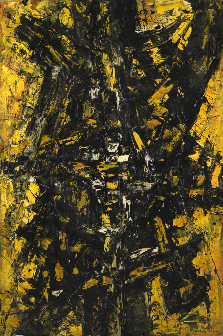 FRANK AVRAY WILSON (1914-2009), FAW787 - CONFIGURATION IN YELLOW AND BLACK,1959. Oil on canvas 182 x 122 cm. Signed and dated lower right