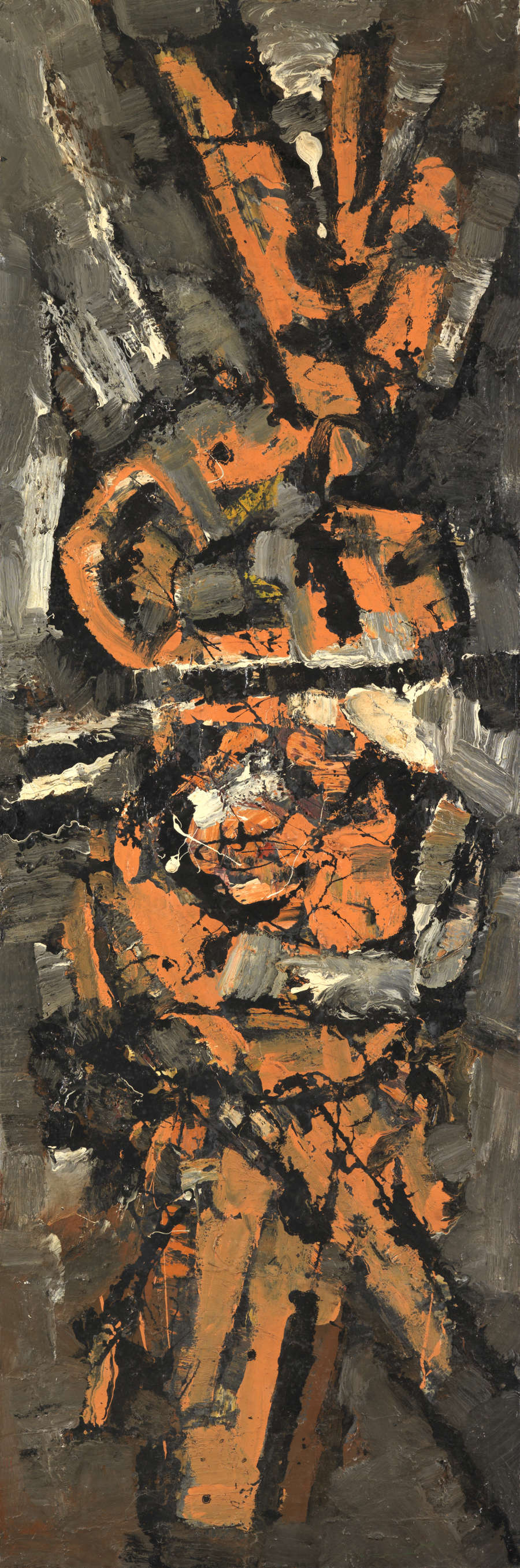 FRANK AVRAY WILSON (1914-2009), FAW820 - TRIBUTE TO CARBON ATOM, 1958. Oil on canvas 183 x 60 cm. Signed, dated 'Nov 1958' and titled verso