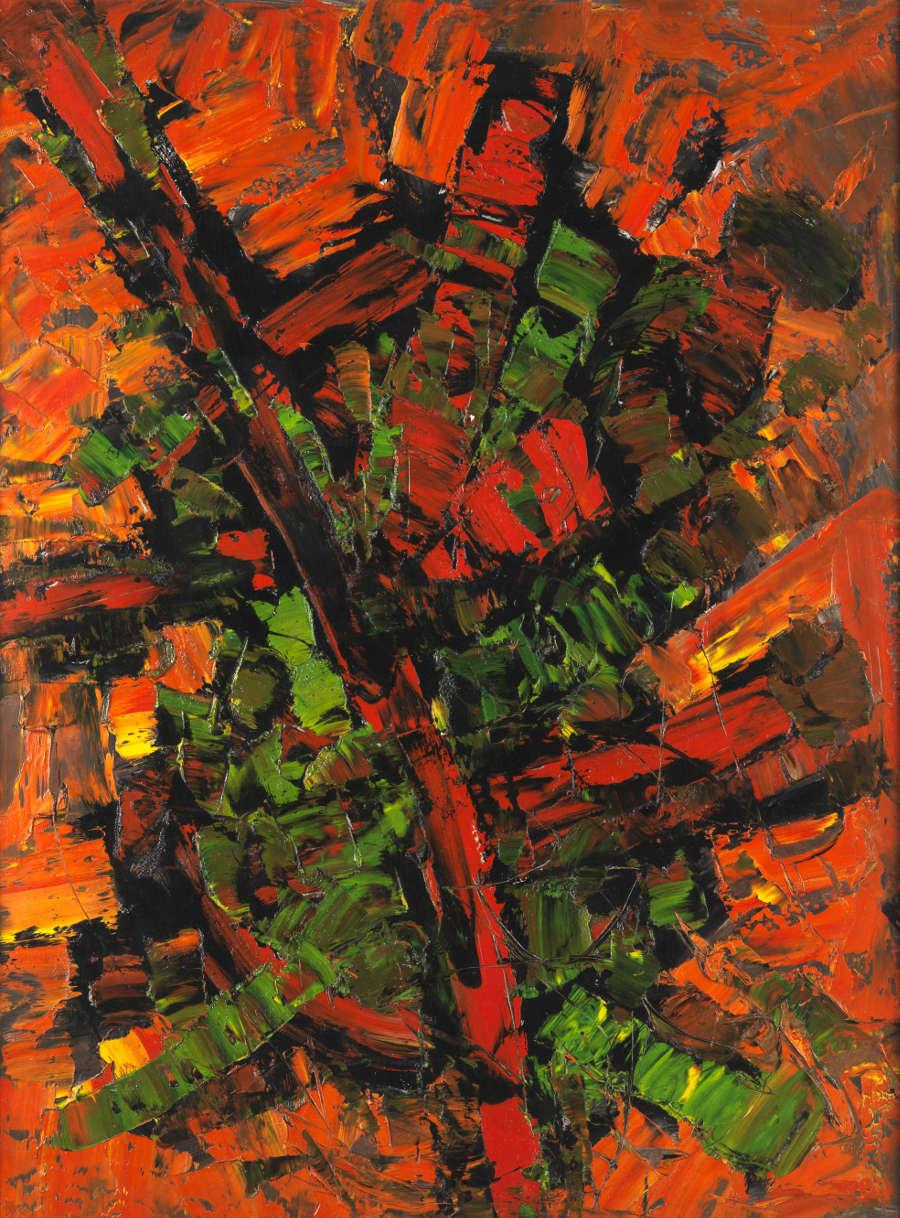 FRANK AVRAY WILSON (1914-2009), FAW828 - REACTION, 1956. Oil on hardboard 122 x 92 cm. Dated verso