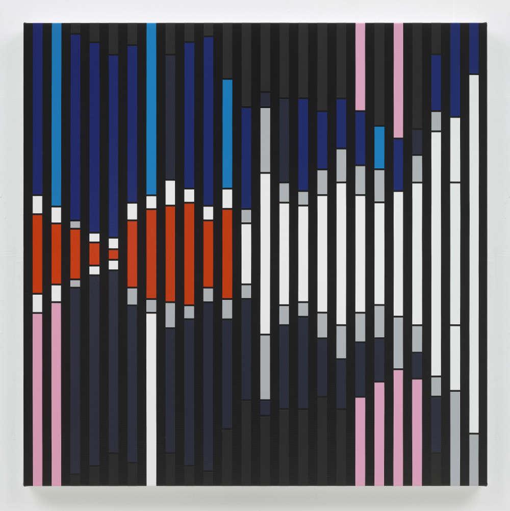 Sarah Morris, Cannot Orient [Sound Graph], 2018. Household gloss paint on canvas 122 x 122 cm. Photo: Tom Powel