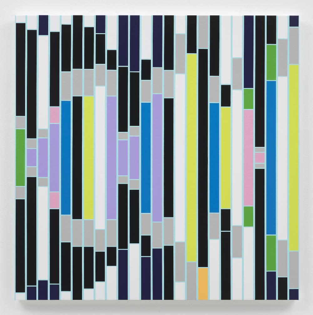 Sarah Morris, Culture Resounds [Sound Graph], 2018. Household gloss paint on canvas 152 x 152 cm. Photo: Tom Powel