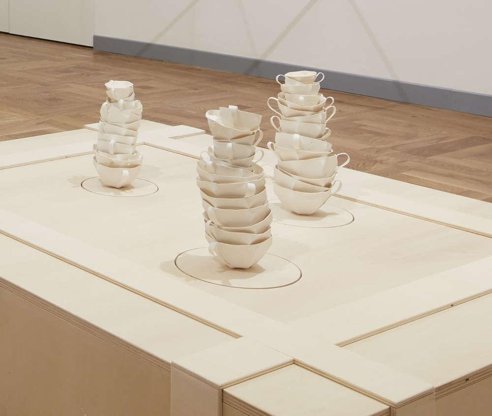 Elisabetta Di Maggio (b. 1964), At still point of turning world, 2016. Porcelain, glass, wood, loudspeaker, computer Base: 150 x 120 x 30 cm, 59 1/8 x 47 1/4 x 11 3/4 in. Courtesy Mazzoleni. Photo Agostino Osio