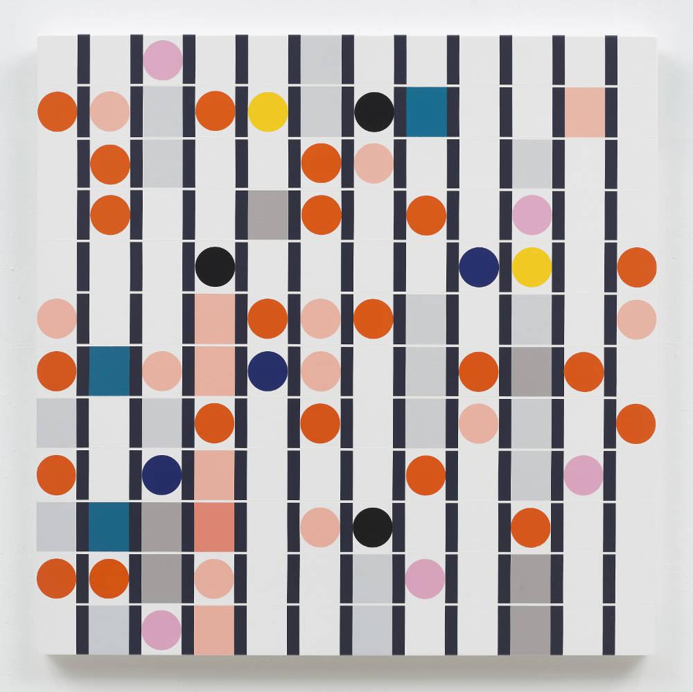 Sarah Morris, Deviancy is the Essence [Sound Graph], 2018. Household gloss paint on canvas 122 x 122 cm. Photo: Tom Powel