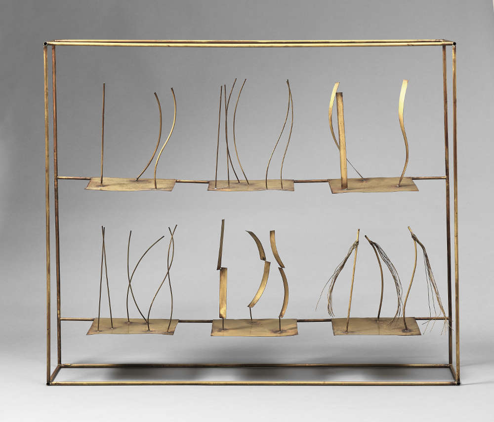 Fausto Melotti (1901–1986), Tema e Variazioni IX, 1980 (1986). Signed (on a label on the base); signed (on the reverse) Brass 94.5 x 114 x 20.5 cm 37 1/4 x 44 7/8 x 8 1/8 in. Courtesy Mazzoleni