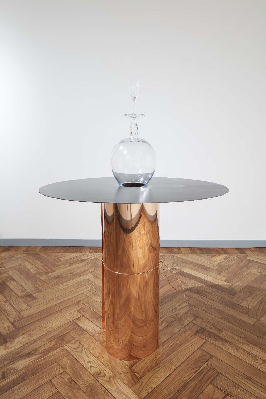 Remo Salvadori (b. 1947), Verticale, 1991. Copper, glass and iron 164 x 111 cm 64 5/8 x 43 3/4 in. Courtesy Mazzoleni