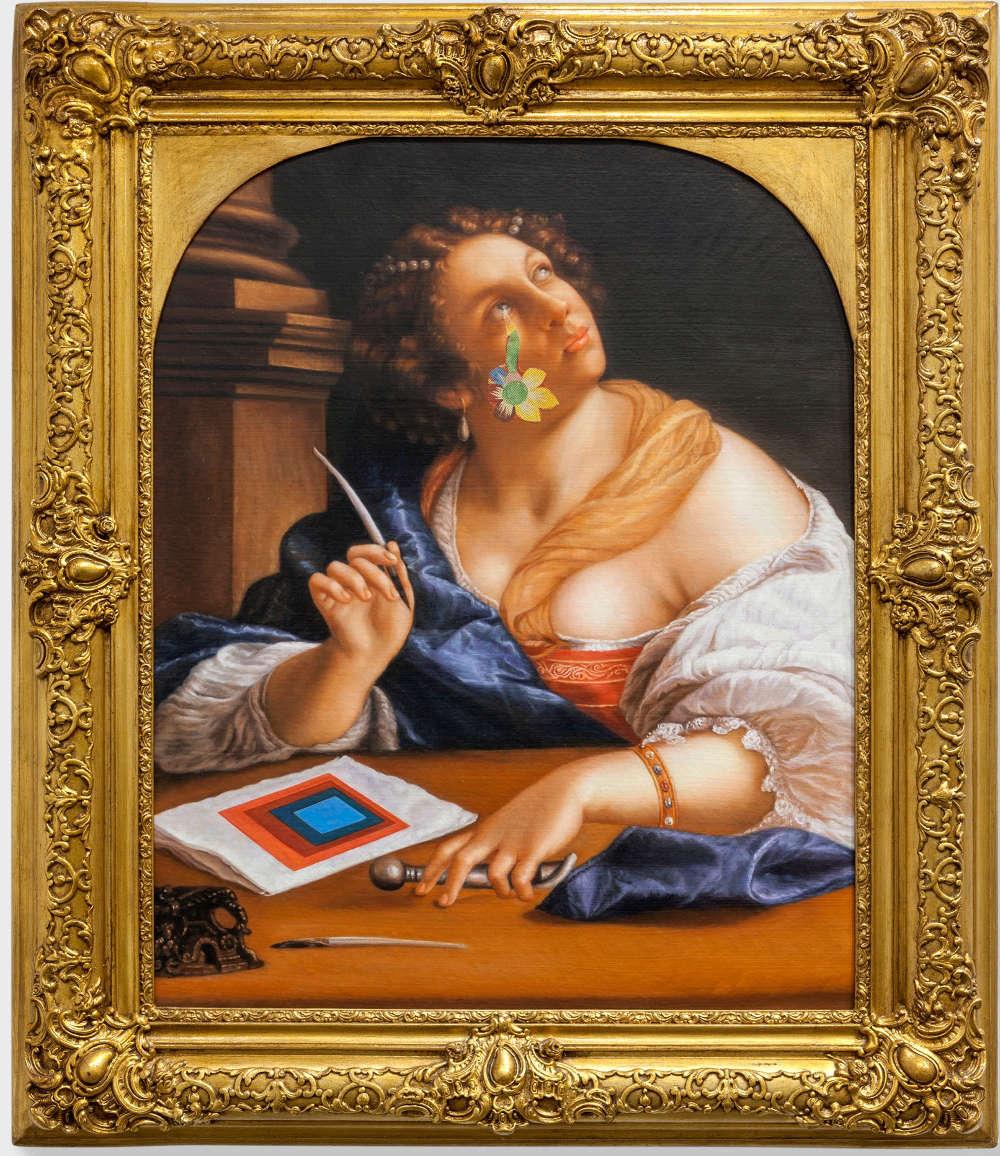 Franceso Vezzoli, Retorica della Retorica – featuring Josef Albers and Natalia Goncharova (After Artemisia Gentileschi), 2013, oil on canvas, laserprint collage, artist's frame, 113 x 93 x 8 cm