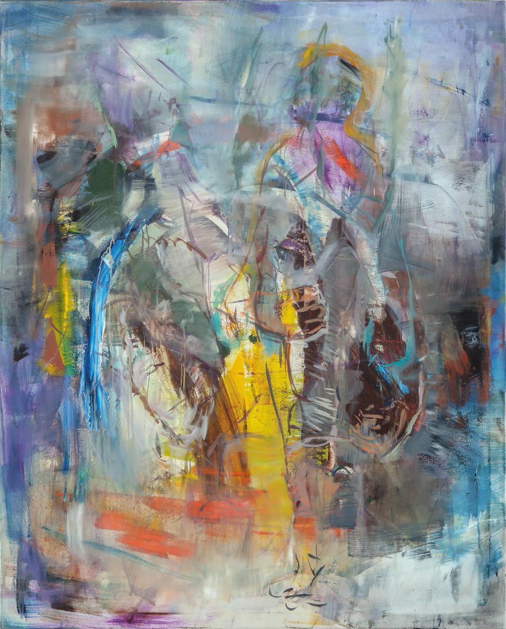 Robert Muntean, The Glowing Man, 2018. Oil on canvas 150x120cm