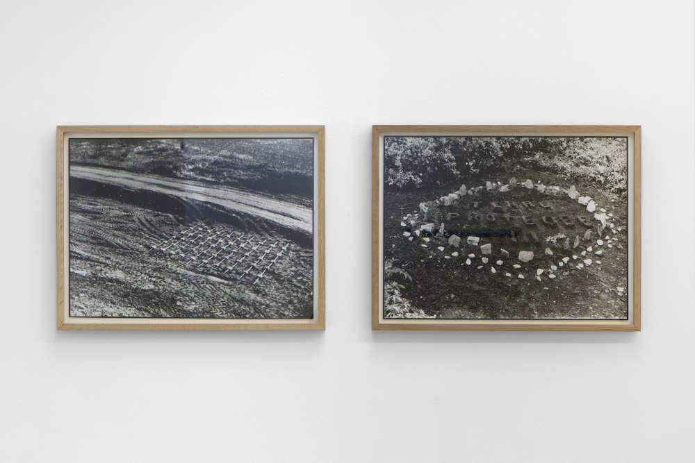 GinaPane, Terre protégée I, 1968. Black and white photograph 41,5x55cm & Terre protégée III, 1970. Black and white photograph 41,5x55cm ©ADAGPGinaPane. Photo. archiveskamelmennour. Courtesy AnneMarchand and kamelmennour, Paris/London