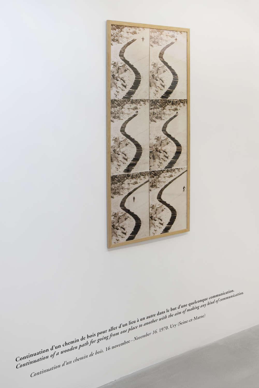 GinaPane, Continuation d'un chemin de bois, 1970. 6 photographs, sepia print 121x60cm ©ADAGPGinaPane. Photo. archiveskamelmennour. Courtesy AnneMarchand and kamelmennour, Paris/London