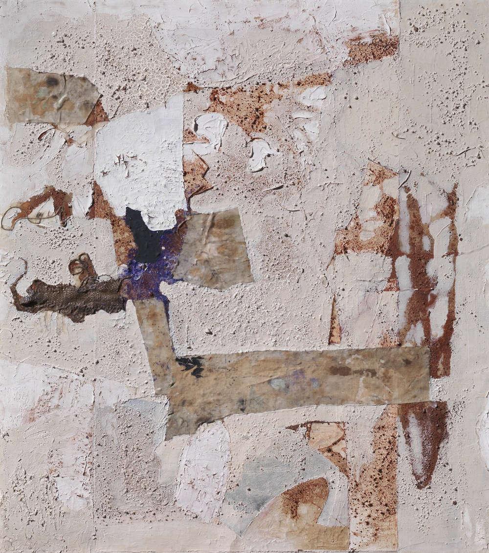 Alberto Burri, Senza titolo, 1952; oil, glue, sand, burlap and collage on canvas, 62x56 cm. Courtesy of Tornabuoni Art