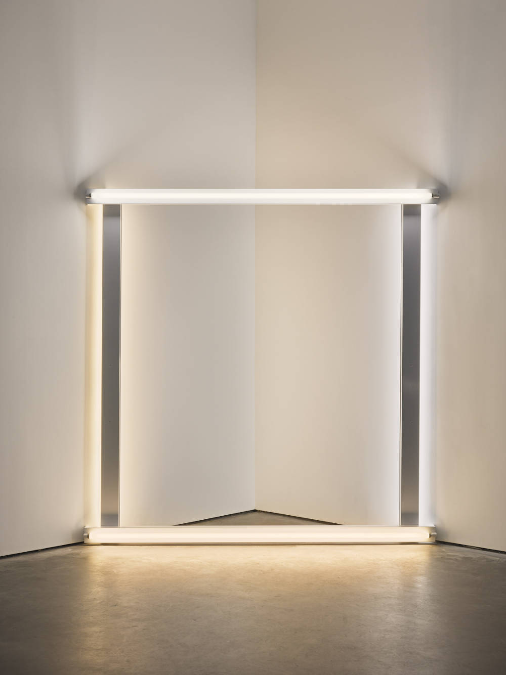 Dan Flavin, Untitled (to Helen Winkler), 1972. Cool white and warm white fluorescent light 244 cm square across a corner 96 1/8 in square across a corner. Edition 3 of 5