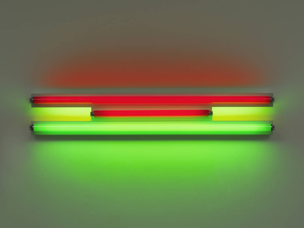 Dan Flavin, Untitled, 1995. Red and green fluorescent light width 122 cm, width 48 1/8 in. Edition 2 of 5