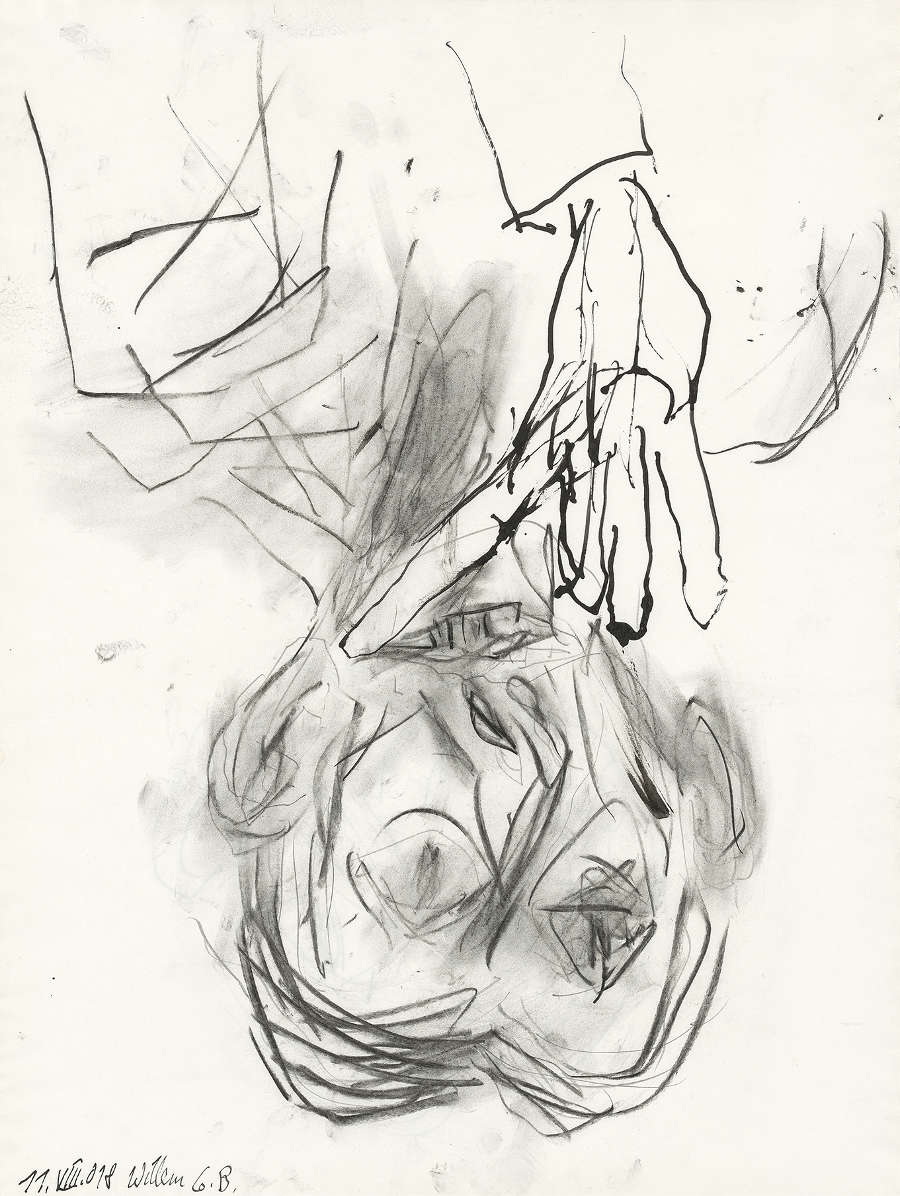 Georg Baselitz, Willem, 2018. Pencil, charcoal and india ink on paper 26 1/4 x 20 in 66.7 x 50.8 cm © Georg Baselitz. Photo: Jochen Littkemann. Courtesy Gagosian