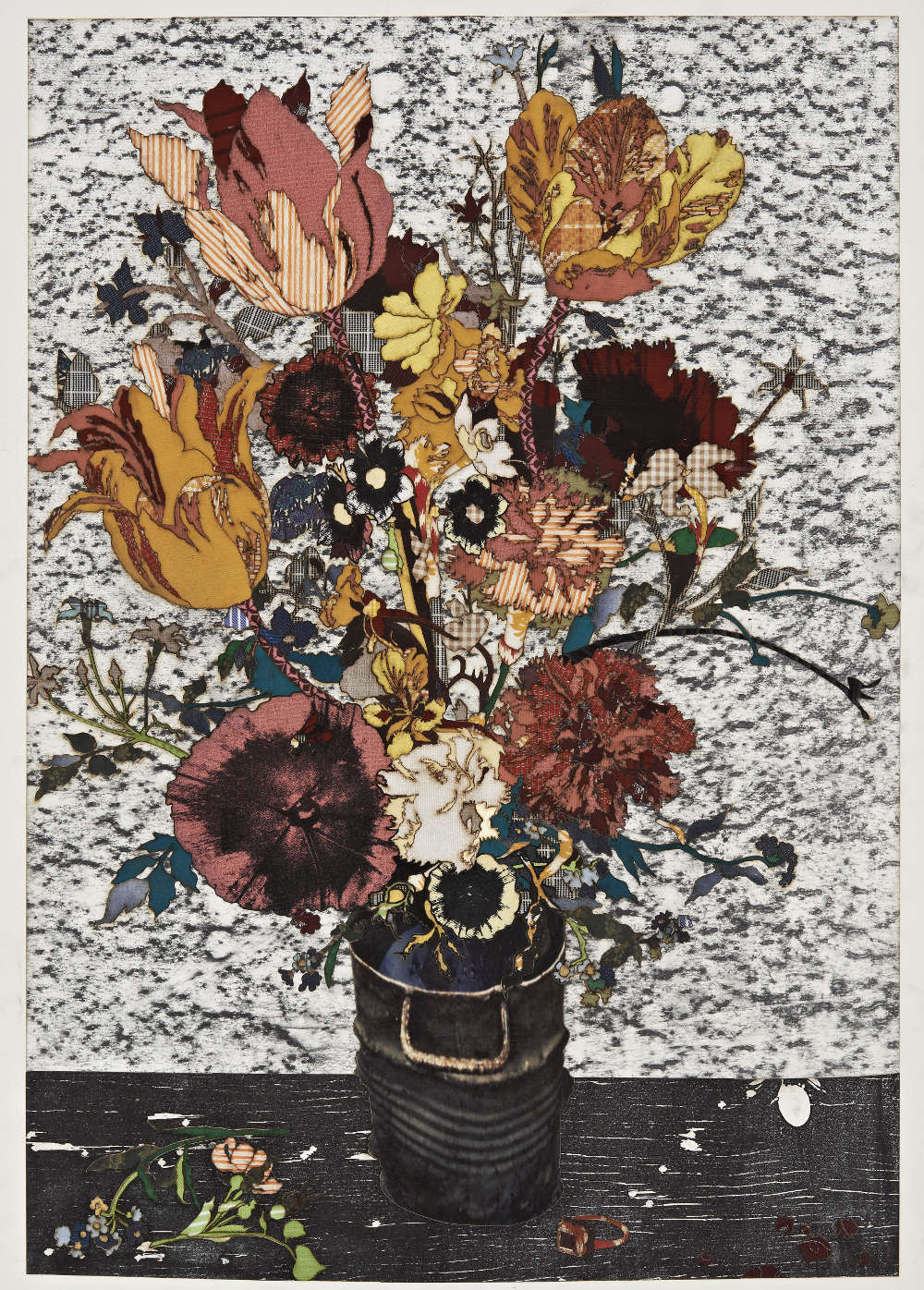 Matthew Day Jackson, Flowers in a Glass Vase (Madrid), 2018. Textile, silkscreen, pigment print on paper 76.2 x 53 cm / 30 x 20 7/8 in © Matthew Day Jackson. Courtesy of the artist and Hauser & Wirth