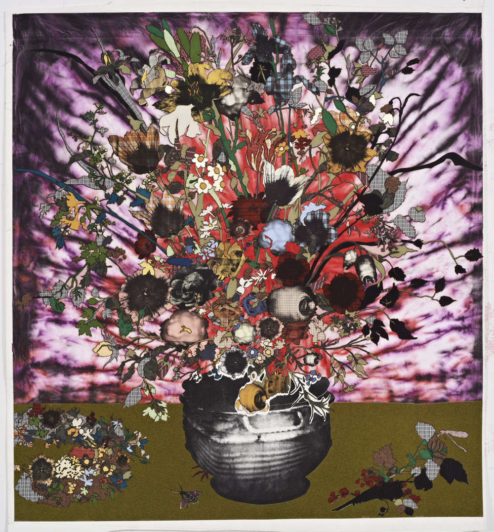 Matthew Day Jackson, Bouquet in a Sculpted Vase Beside a Wreath of Flowers (Berlin), 2018. Textile, silkscreen, architectral turf mat, pigment print on paper 161.6 x 149.9 cm / 63 5/8 x 59 in © Matthew Day Jackson. Courtesy of the artist and Hauser & Wirth