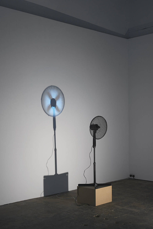Vadim Fishkin, Missing Part, 2016, ventilator, projector and spotlight. Photo: Andy Keate