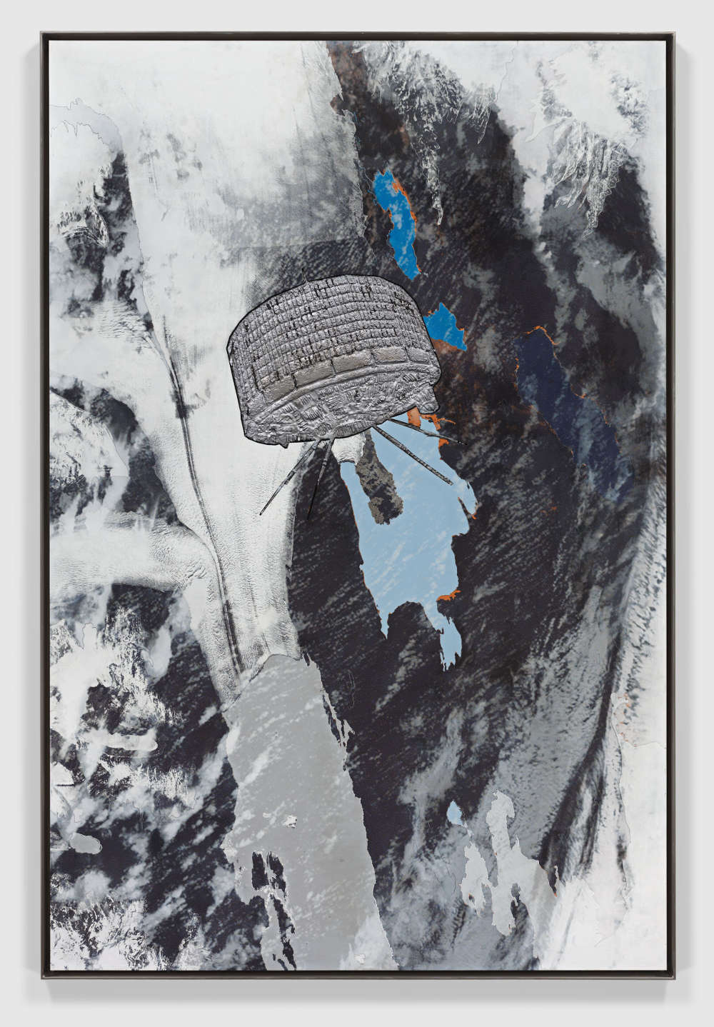 Matthew Day Jackson, Solipsist II, 2018. Formica, silkscreen, lead on panel, stainless steel frame 194.9 x 130.5 x 5.1 cm / 76 3/4 x 51 3/8 x 2 in © Matthew Day Jackson. Courtesy of the artist and Hauser & Wirth