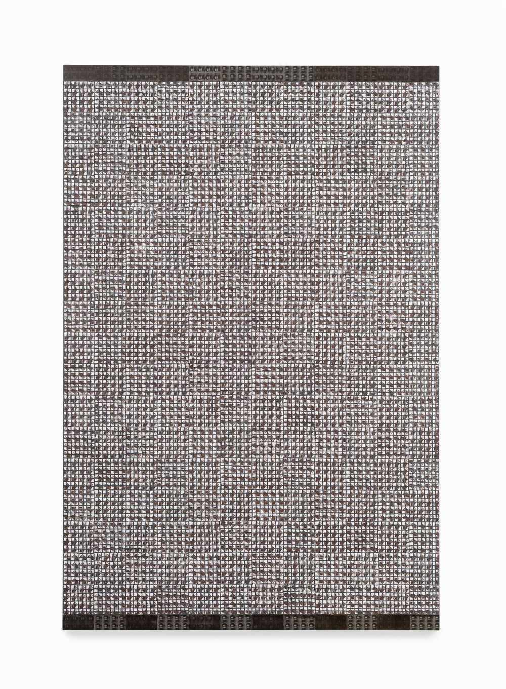 McArthur Binion, Hand:Work, 2018. Oil paint stick and paper on board 72 x 48 x 2 inches 182.88 x 121.92 x 5.08 cm. Courtesy the artist and Lehmann Maupin, New York, Hong Kong, and Seoul