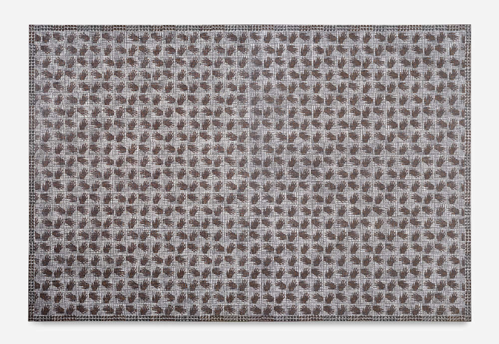 McArthur Binion, Hand:Work, 2018. Oil paint stick and paper on board 96 x 144 x 2 inches 243.84 x 365.76 x 5.08 cm. Courtesy the artist and Lehmann Maupin, New York, Hong Kong, and Seoul