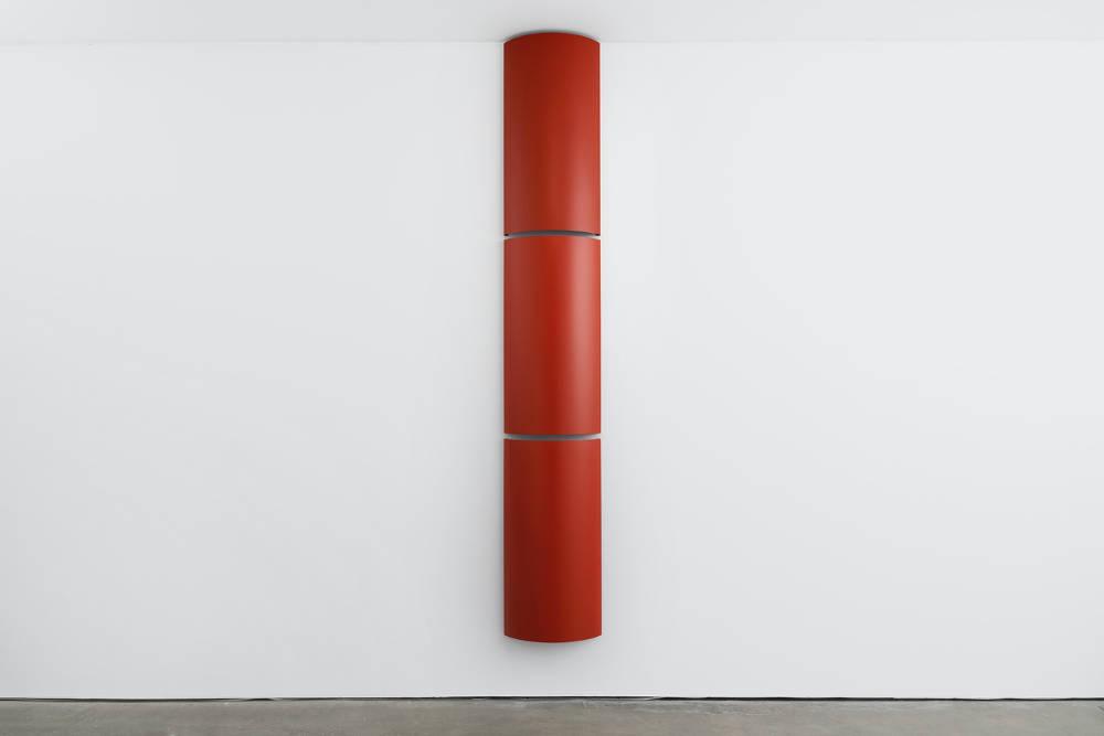 Charlotte Posenenske, Relief Serie B, 1967-2016, 3 elements, aluminium, sprayed standard RAL matte red, 100 x 50 x 14 cm, 39 3/8 x 19 3/4 x 5 1/2 ins. Photo: Robert Glowacki. Courtesy Estate of Charlotte Posenenske, Modern Art, London & Galerie Mehdi Chouakri, Berlin