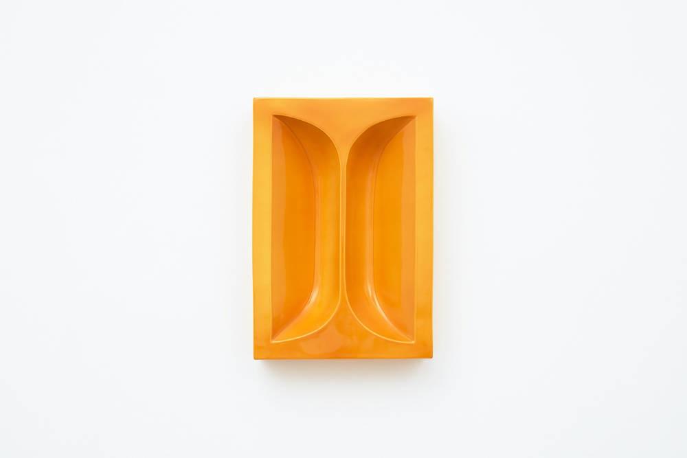 Nicolas Deshayes, Brick, 2018, glazed slip-cast earthenware, 44 x 31 x 9 cm, 17 3/8 x 12 1/4 x 3 1/2 ins. Photo: Robert Glowacki. © Nicolas Deshayes. Courtesy the artist & Modern Art, London