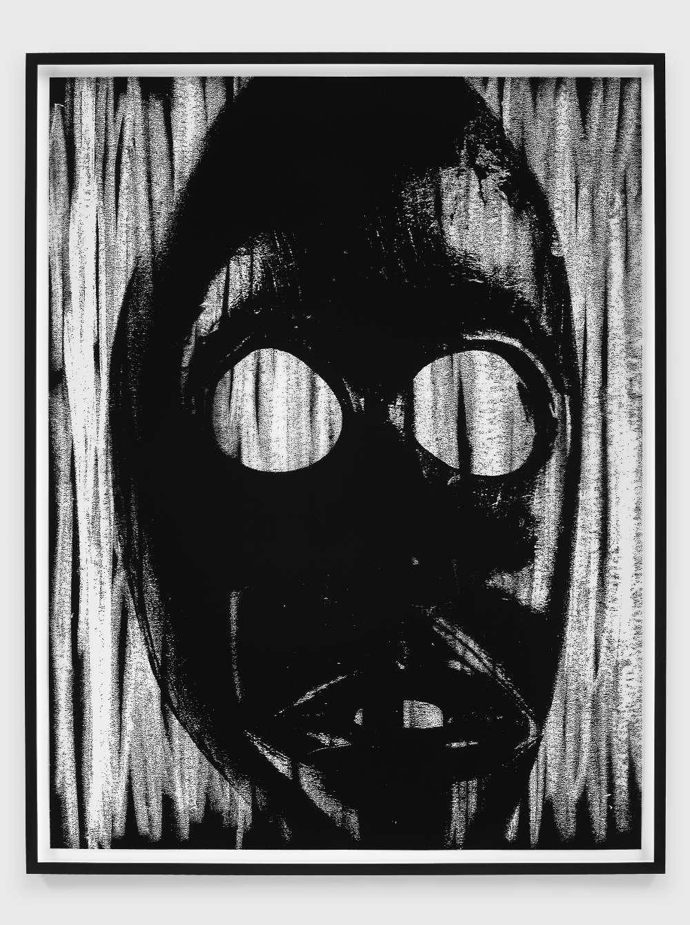 Adam Pendleton, Untitled (mask), 2018. Silkscreen ink on Mylar Sheet: 131 x 100.5 cm / 51 1/2 x 39 1/2 in. Framed: 138 x 107.5 cm / 54 3/8 x 42 3/8 in © Adam Pendleton. Courtesy the artist and Galerie Eva Presenhuber, Zurich / New York