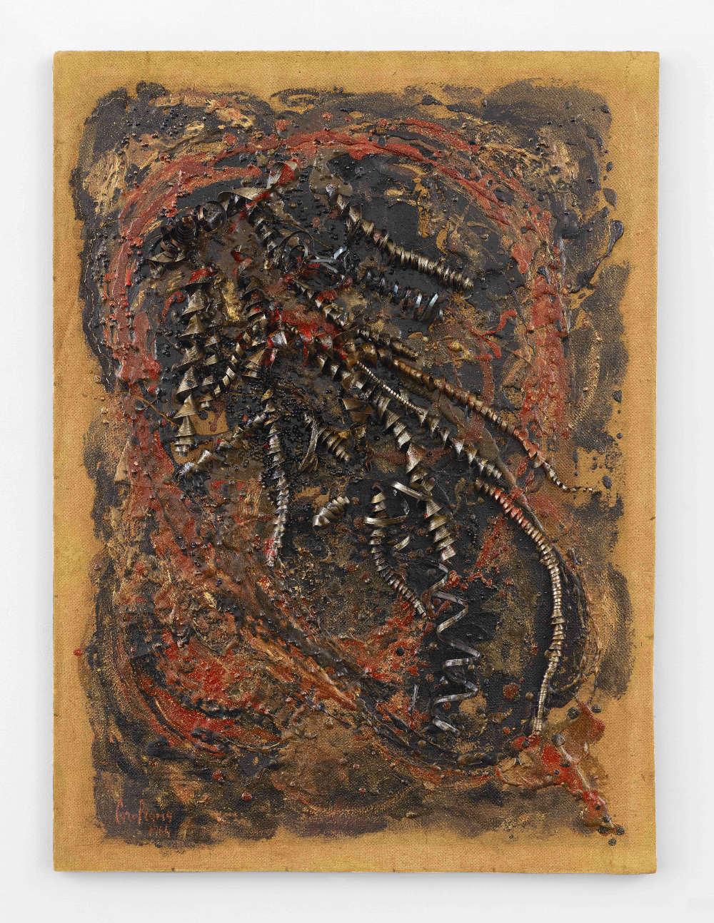 CAROL RAMA, Bricolage, 1964. Oil, lacquer, beads, and metal shavings on Masonite 27 x 20 inches (69 x 51 cm) © Archivio Carol Rama, Torino. Photo: Elisabeth Bernstein. Courtesy Lévy Gorvy