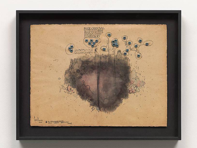 CAROL RAMA, Senza titolo, 1967. Ink, glue, and doll eyes, on paper mounted on cardboard 13 x 18 inches (35 x 46 cm) © Archivio Carol Rama, Torino. Photo: Tom Powel Imaging. Courtesy Lévy Gorvy