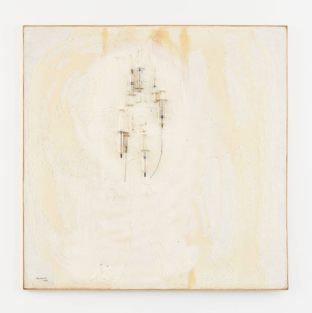 CAROL RAMA, Le siringhe, 1967. Glue, spray paint, and syringes on canvas 43 x 43 inches (109 x 110 cm) © Archivio Carol Rama, Torino. Photo: Elisabeth Bernstein. Courtesy Lévy Gorvy