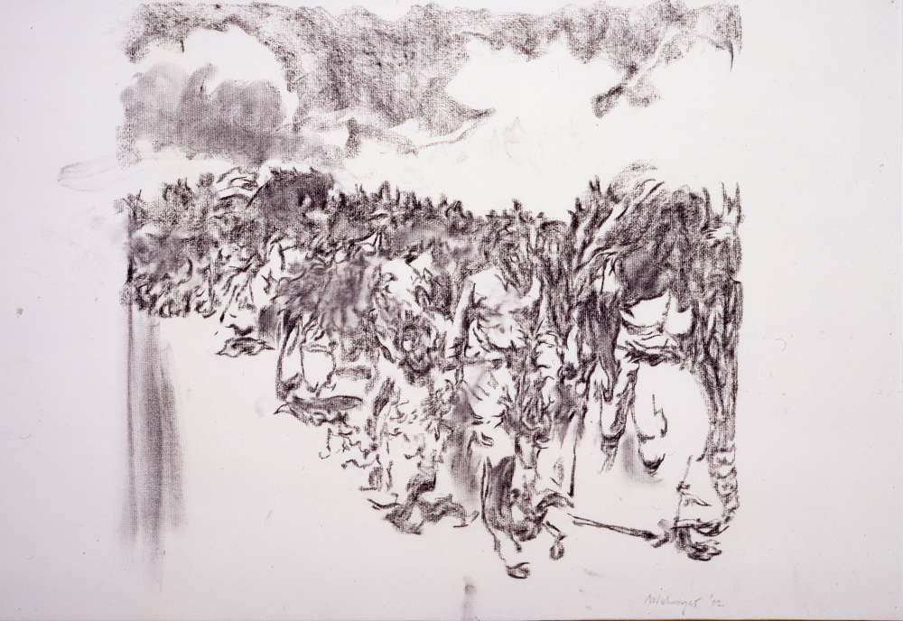 Richard Artschwager, Excursion, 2002. Charcoal on paper 25 x 38 in 63.5 x 96.5 cm © 2019 Richard Artschwager / Artists Rights Society (ARS), New York. Courtesy Gagosian.