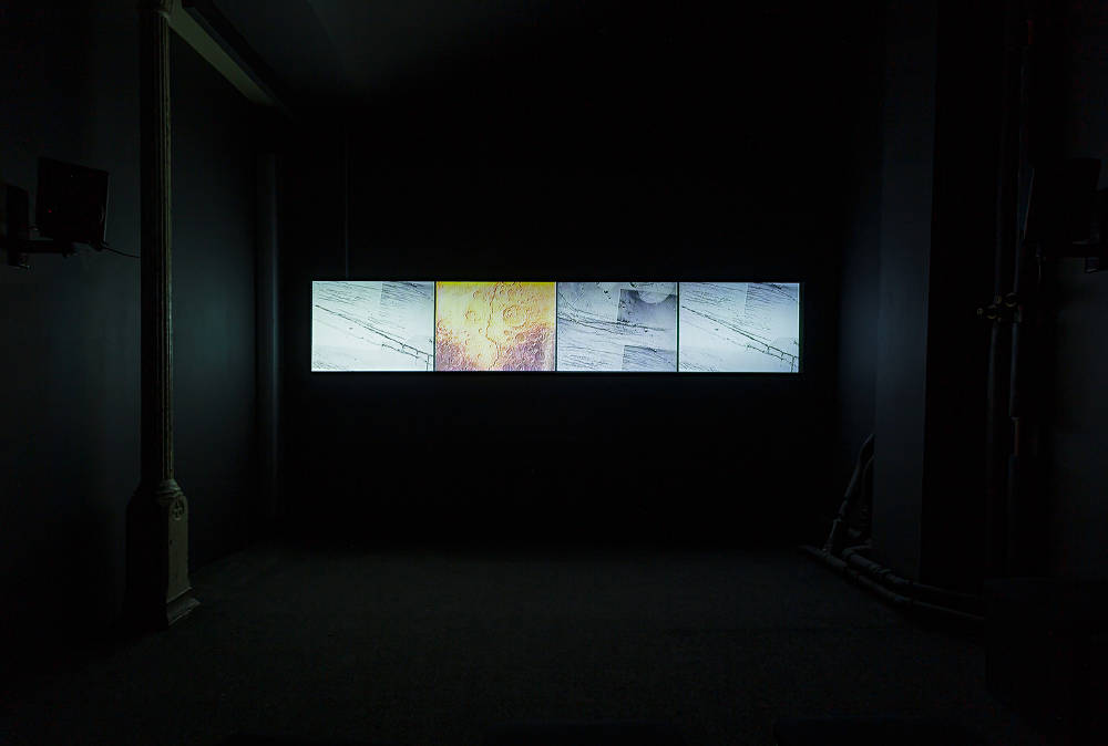 David Wojnarowicz and Ben Neill, ITSOFOMO (In The Shadow of Forward Motion - Full Length), 1991/2018, Installation View, In the Shadow of Forward Motion, Zabludowicz Collection, London, 2019. Courtesy Zabludowicz Collection and PPOW. Photo: Tim Bowditch