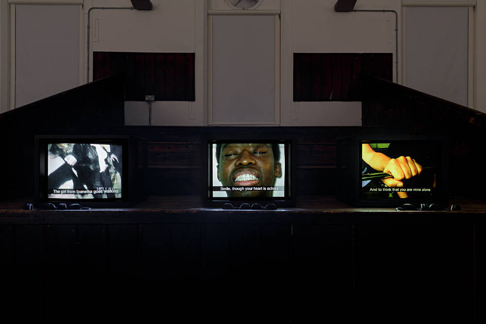 Harold Offeh, 3 Songs, 2001, Installation View, In the Shadow of Forward Motion, Zabludowicz Collection, London, 2019. Courtesy Zabludowicz Collection. Photo: Tim Bowditch