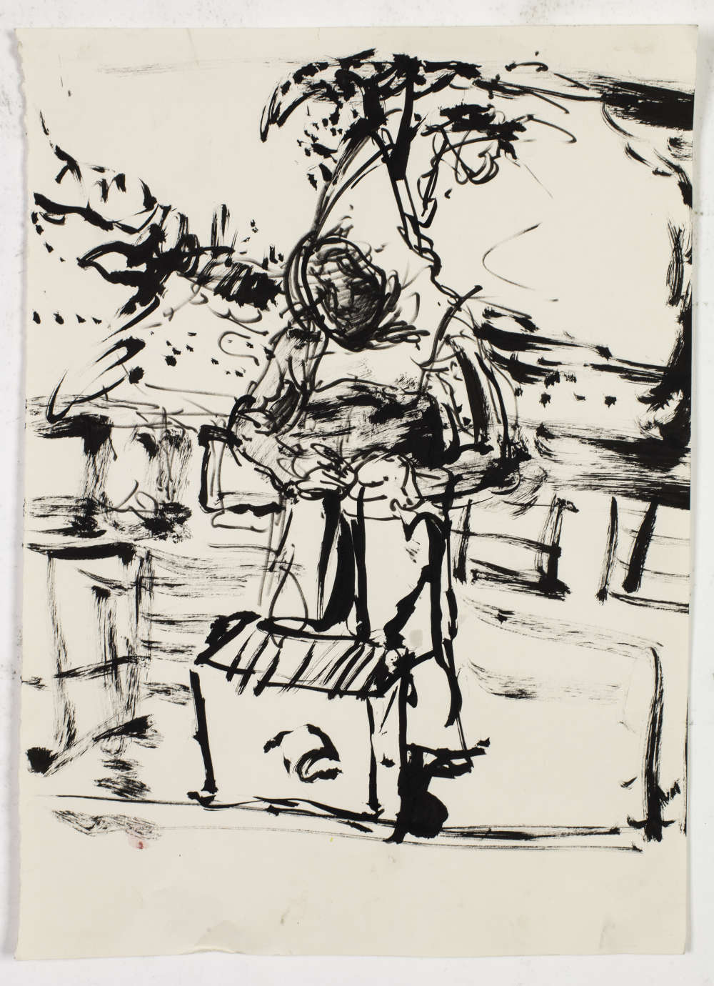 Catherine Goodman, Beekeeper, 2018. Ink on paper 42 x 30.5 cm / 16 1/2 x 12 in © Catherine Goodman. Courtesy of the artist and Hauser & Wirth