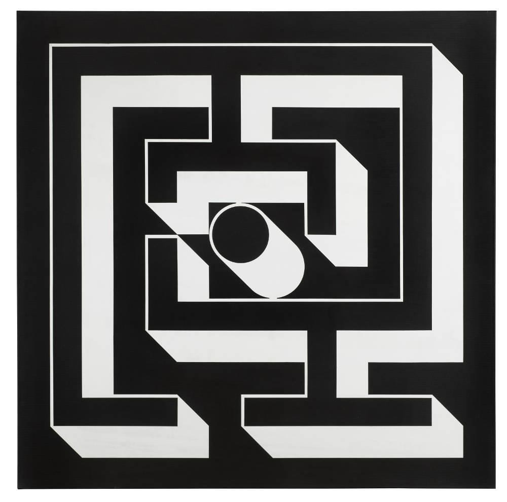 Imre Bak, Labyrinth, 1979. Acrylic on canvas 150 x 150 cm (59 x 59 inches)