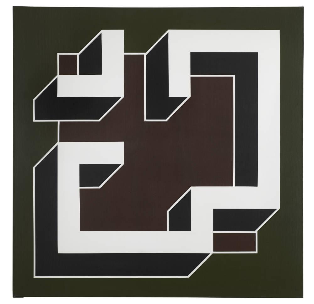 Imre Bak, Black and White No. X, 1981. Acrylic on canvas 150 x 150 cm (59 x 59 inches)