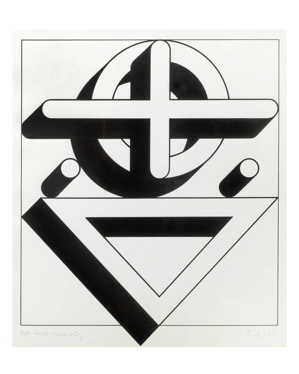 Imre Bak, Circle-Cross-Triangle, 1977. Ink and tempera on paper 32 x 28 cm (12 5/8 x 11 inches)