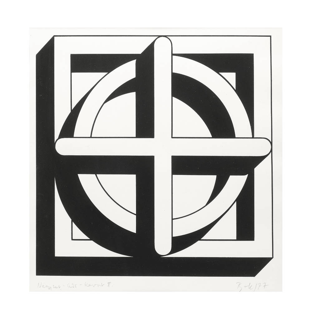 Imre Bak, Square-Circle-Cross II, 1977. Ink and tempera on paper 28 x 28 cm (11 x 11 inches)